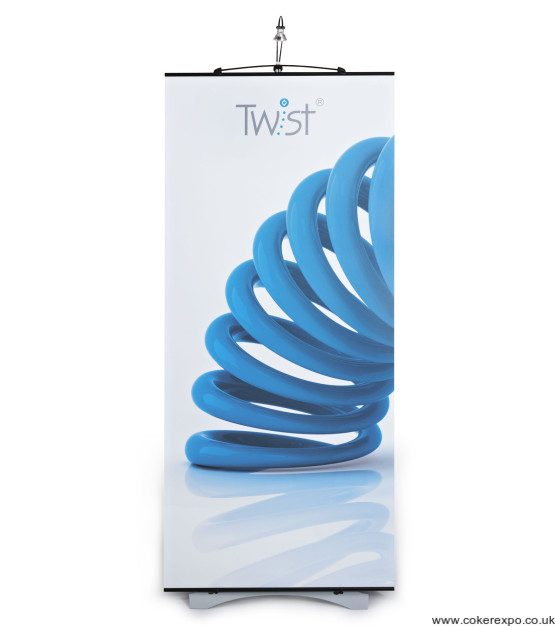Twist banner stand with graphic and light