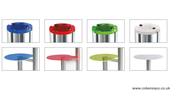 Centro display stand post tops and tables in coloured acrylic