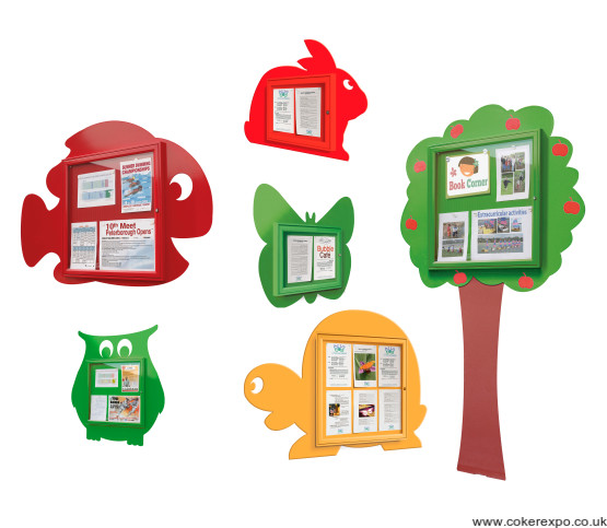 Fun shape notice boards for schools, fish, tree, butterfly, owl, rabbit and tortoise.