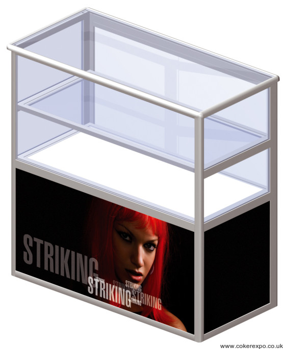 Portable Exhibition Folding Display : Portable exhibition counter with showcase locking doors and branding