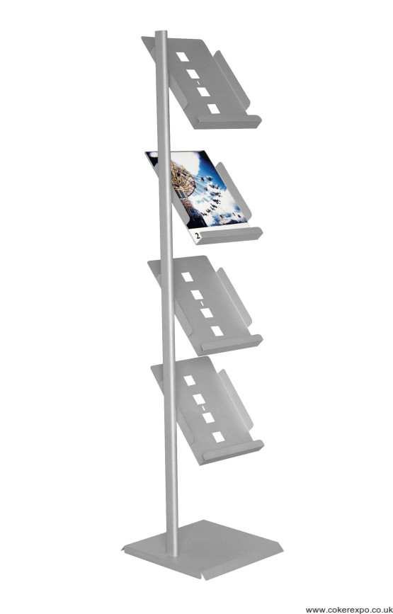Spire brochure rack for A4 brochures and magazines, silver and black paint finishes