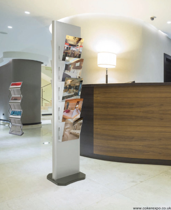 Tower literature stand in a reception setting