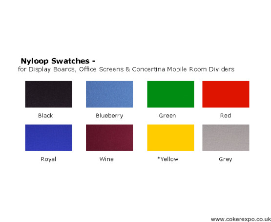 nylon loop colour swatch for office divider screens