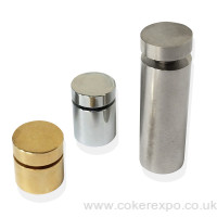 25mm diameter stand off range of finishes, chrome, gold, satin.