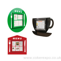 Cafe menu display cases