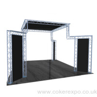 Lighting truss design for stand alone all round display.