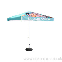 Square printed umbrella parasol for external events.