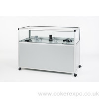 Display showcase counter with storage and locking doors