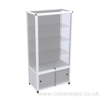 Glass display case, with double storage area