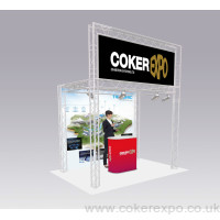 Lighting truss exhibition stand square with top banner