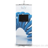 twist media banner stand with an Lcd screen fitted