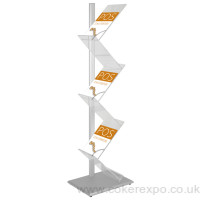 Zig Zag literature rack, aluminium support pole with acrylic shelves