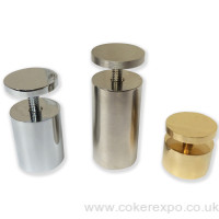 Satin chrome, chrome or gold stand off's 40mm diameter.
