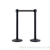2.3m retractable belt barrier posts in black
