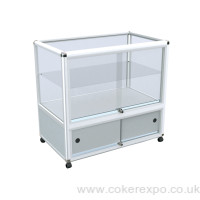 Alpha glass display counter with storage base unit