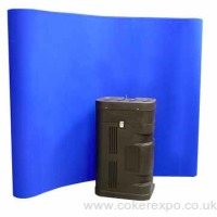 Curved Velcro friendly fabric popup display 2 Size options and a variety of colours