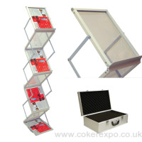 Media 6 literature rack with carry case.