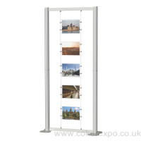 Freestanding cable display stand with A4 landscape acrylics