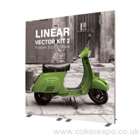 Free standing display stand, vector kit 2 has tension fit printed graphics.
