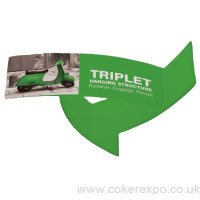 Triple display, suspended structure with fabric graphics
