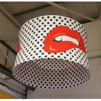 Circular tension fabric hanging display