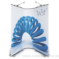 2 twist banner stands with a flexible link.