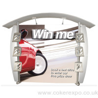 Curve linear display stand with branded sign and curved roof structure