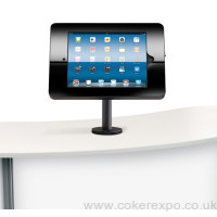 Ipad counter holder in black finish.