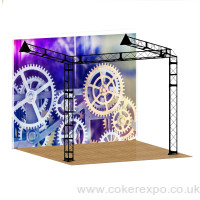 Wall lean to gantry exhibition display stand
