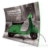 Vertical curve formulate tension fabric display stand