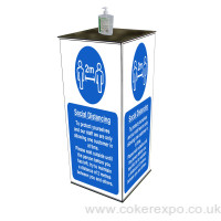 Hand gel sanitiser station for inside and outside public areas