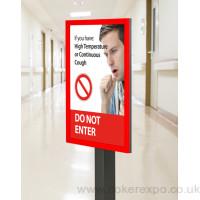 Flashing warning information signpost with round base