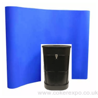 Curved fabric pop up display stand.
