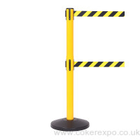 Safety barriers with twin retractable belts, yellow and black posts.