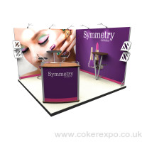 A right angle back wall exhibition stand