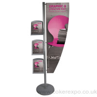 Point of sale literature sign post with display board.