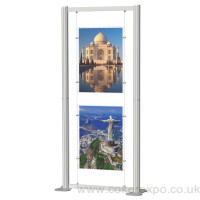 Cable display frames for posters, landscape acrylics