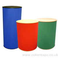 Round exhibition plinths with colour fabric finishes
