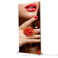 Freestanding display stand with tension fabric graphic