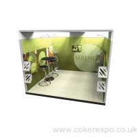 Exhibition stand with a canopy roof structure.