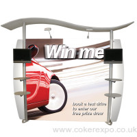 Wave display stand with canopy roof, LCD screens and literature racks