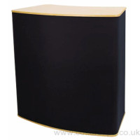 Curved workstation in black fabric with beech top
