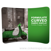 Formulate curved fabric display stand