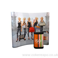 Pop up display stand with case and graphics
