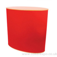 Oval exhibition counter in red loop nylon fabric and beech top