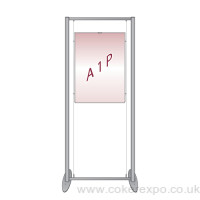 free standing window cable display system with A1 poster.