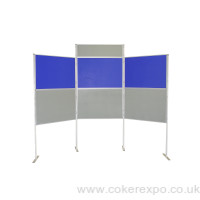 6 panel and pole display stand with landscape header.