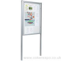 Silver poster display case 58mm with posts