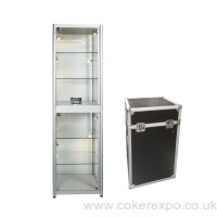 Glass tower display case with lighting shelves and locking doors all fits in its own case