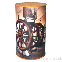 Branded round display plinth